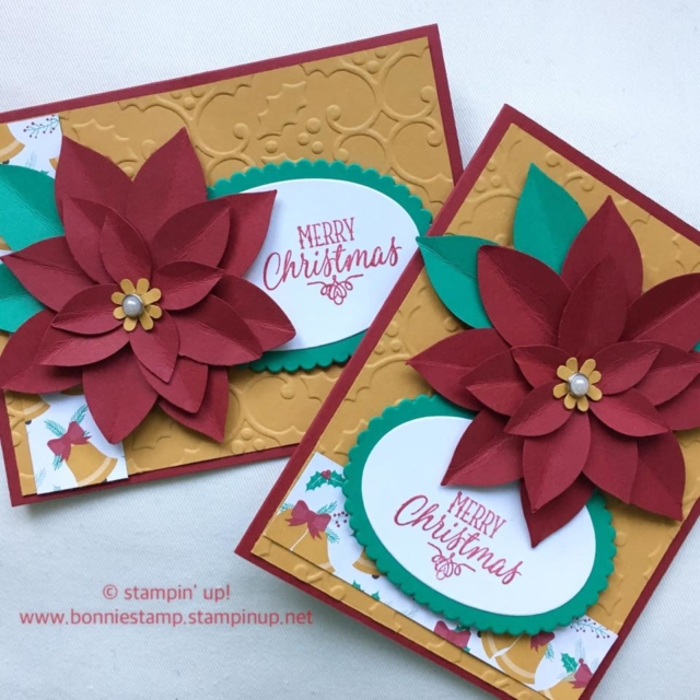 creating a poinsettia flower with the #festiveflower #punch #holidaycards #hollyembossingfolder #ovalframelits #bonniestamped #stampinup