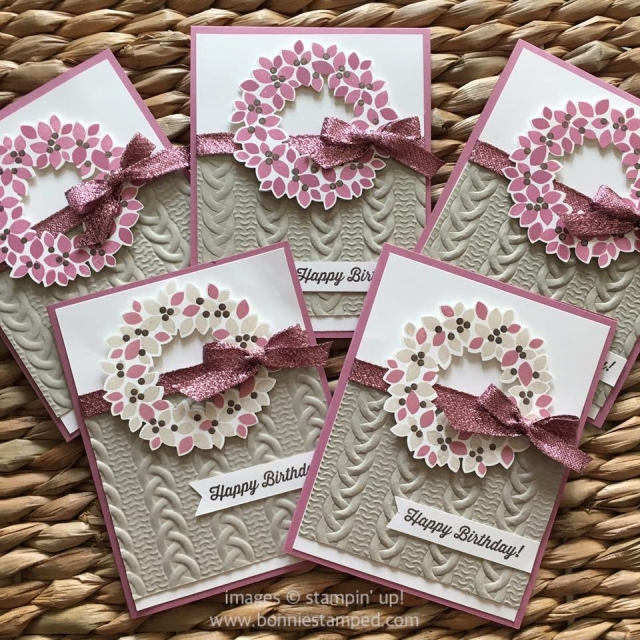 #wondrouswreath #wonderfulwreathframelits #birthdaycards #cableknitembossingfolder #ribbon