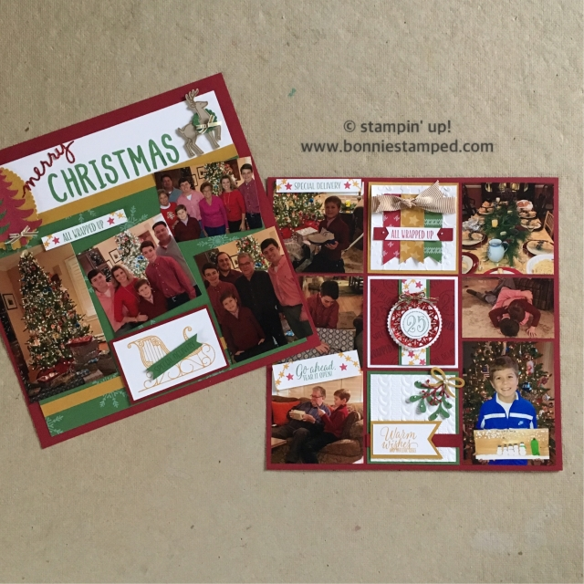 #santassleigh #tinoftags #scrapbooklayouts #scrapbookpages #booniestamped #stampinup #merriestwishes #holiday2016catalog