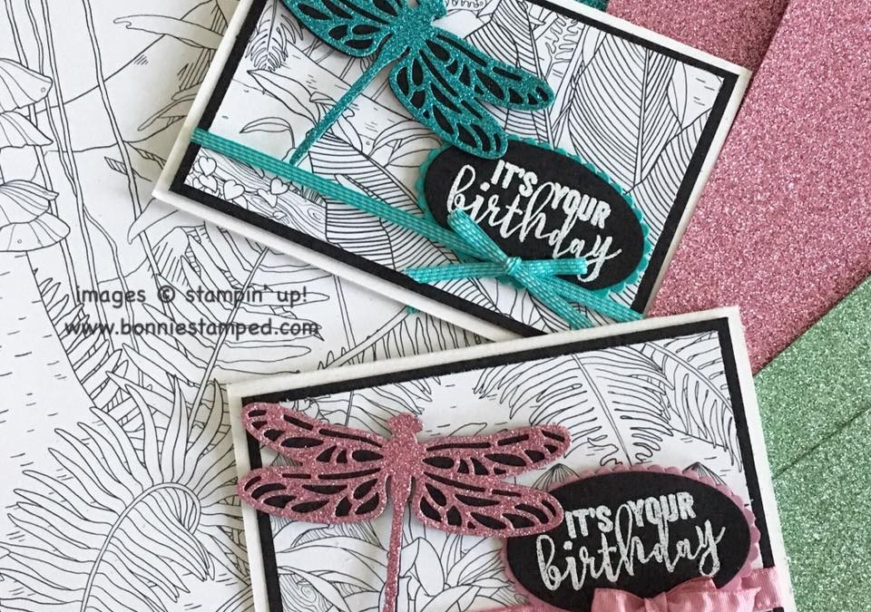 Glimmer Paper and Inside the Lines Sale-a-bration Items create QUICK Note Card!