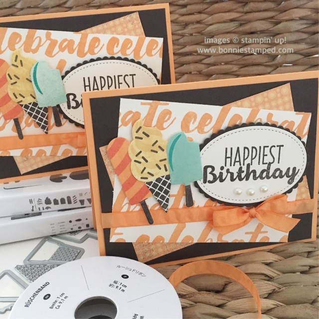 #happycelebrations #peekaboopeach #cooltreats #ovalframelits #bonniestamped #stampinup #occasions2017