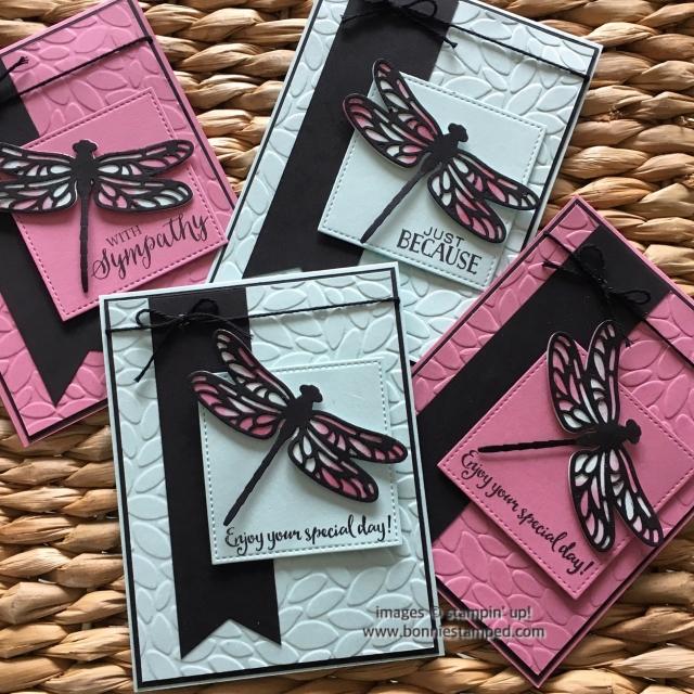 #dragonflydreams #bundle #detaileddragonthinlits #diebrush #bonniestamped #petalburst #stitchedshapesframelits #bannerpunch #twine #stampinup