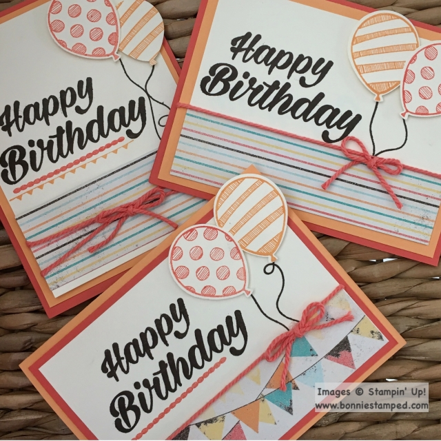 #balloonadventures #occasions2017 #retiringproduct #birthdaybright #stamps #twine #cupcakesandcarouselsDSP #bonniestamped #stampnup