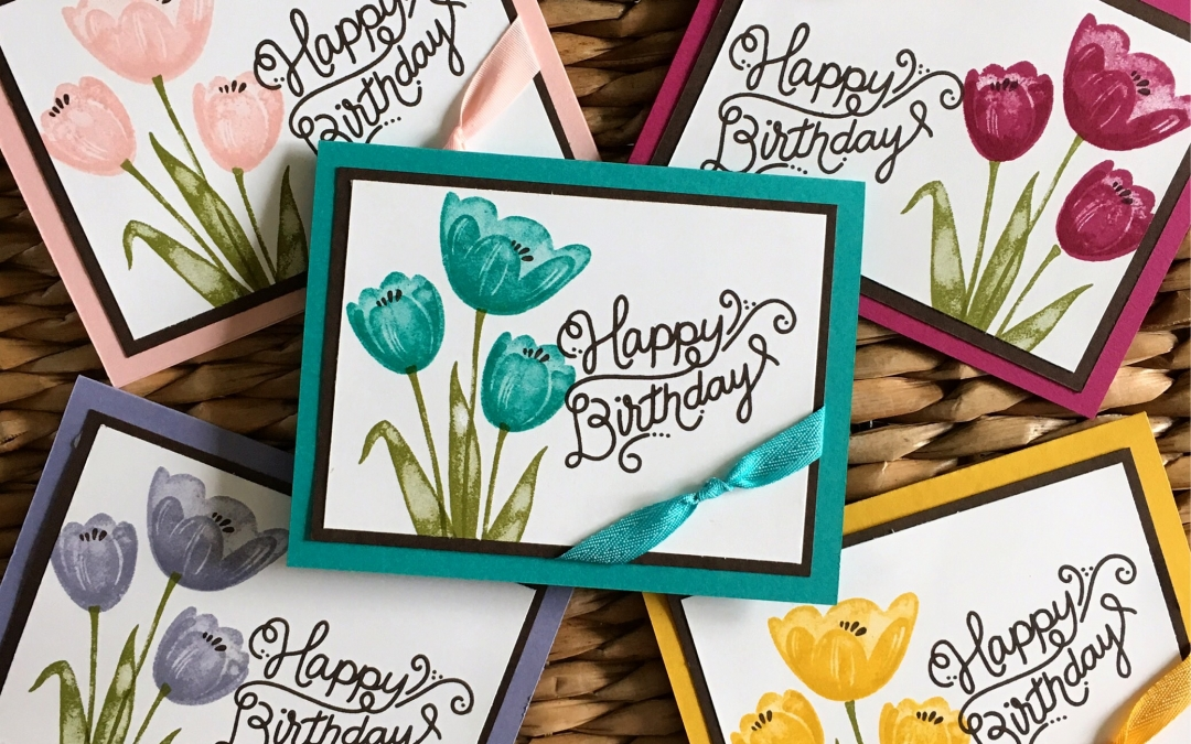 Birthday Card Featuring The Tranquil Tulips Stamp Set