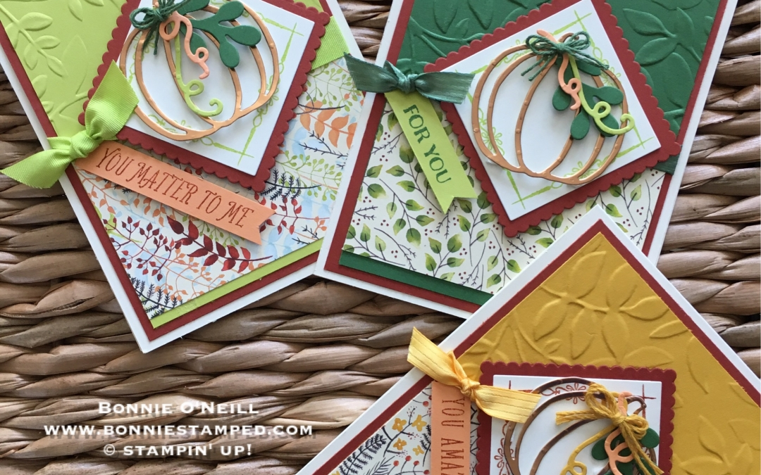 Autumn Cards with Patterned Pumpkins Thinlits