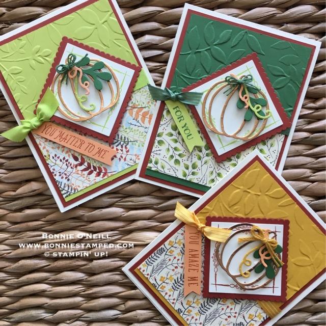 #autumncards #patternedpumpkins #bonniestamped #stampinup #;ayeredleaves #paintedharvest