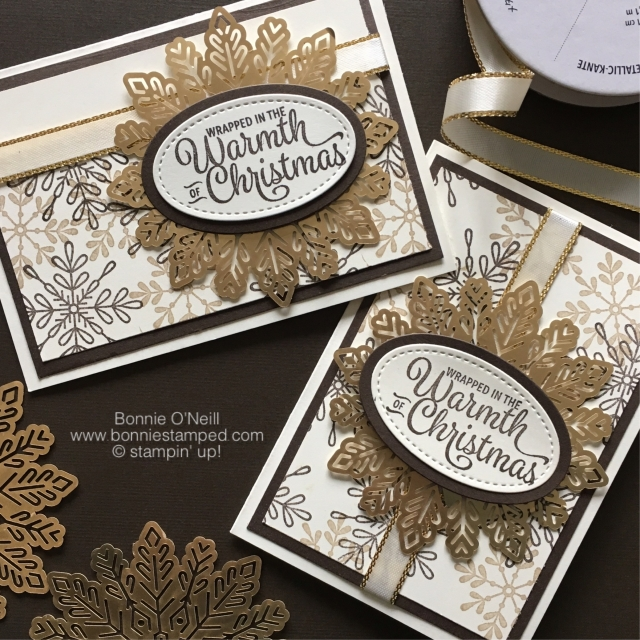 #foilsnowflakes #notecards #bonniestamped #stampinup #snowflakesentiments