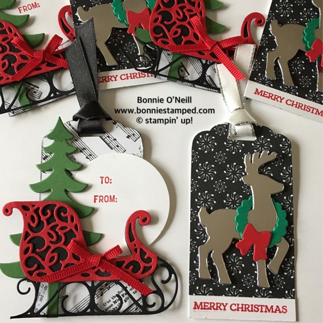 #santassleigh #holidaytags #bonniestamped