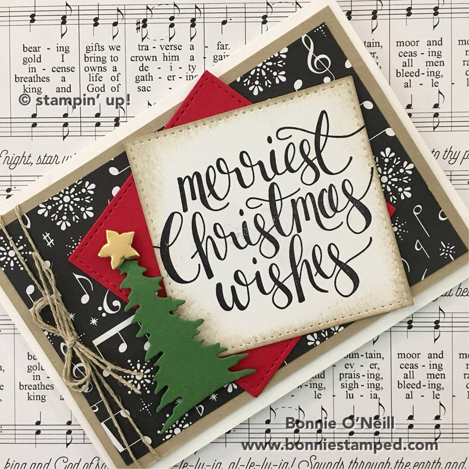 merriest christmas wishes note card • bonnie stamped