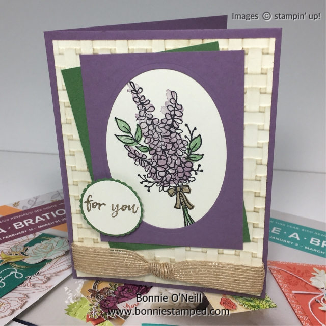 #saleabration #bonniestamped #stampinup #lotsoflavender #basketweave