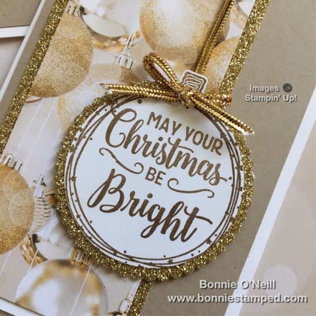 #makingchristmasbright #stampinup #bonniestamped #notecards #goldglimmer #allisbnightdsp
