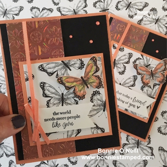 #botanicalbutterflydsp #butterflyduetpunch, #tintileembossingfolder #partofmystory #bonniestamped #stampinup #saleabration
