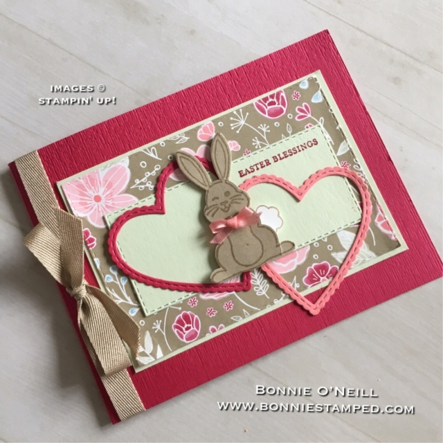 #bunnybuilderpunch #bestbunny #bonniestamped #stampinup #bemineframelits #ribbon